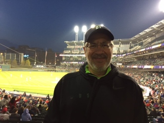 A solitary Tigers fan under the lights at Progressive Field. Cleveland beat Detroit, 8-4, on May 4.