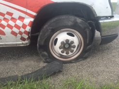 Jordan was driving on I-90 just east of Livingston, Montana, when the second tire blew out. This time it was the front tire on the passenger's side.