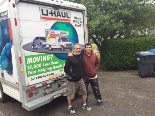 Father and son just before starting the four-day road trip in May 2017